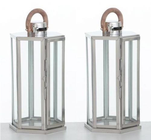 Hexagon Polished Stainless Steel Lantern Small (Set of 2)